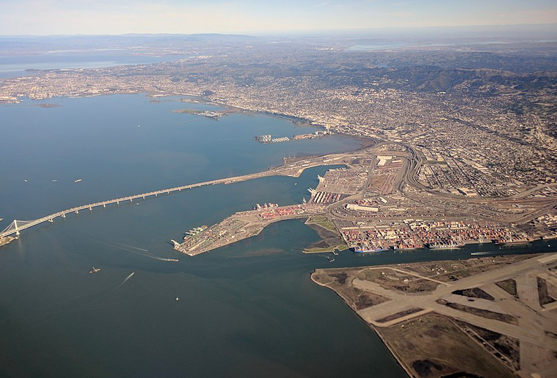 Bay Bridge east span and Port of Oakland